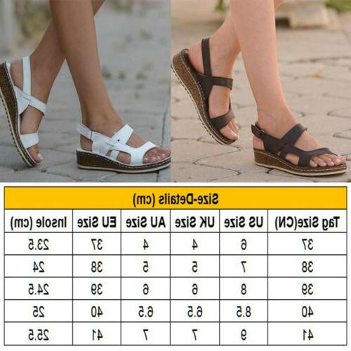 Womens Strap Summer Beach Wedge Heels Sandals Size 6-9