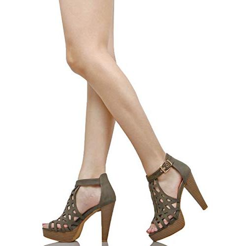Guilty Cutout Gladiator Ankle Platform Fashion Sandals Heeled Pu, 8.5