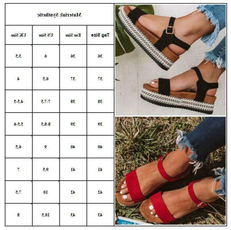 Womens Buckle Sandals Peep Summer Shoes 6-10