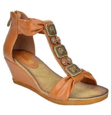 womens gladiator buckles low wedge back zipper