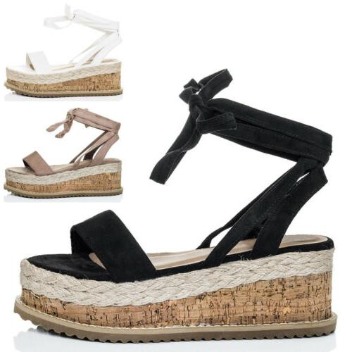 Womens Lace Up Wedge Heel Espadrille Gladiator Sandals Shoes