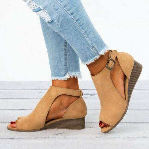 Wedge Buckle Strap Casual Shoes