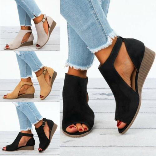 Womens Ladies Peep Toe Wedge Strap Casual 5-10