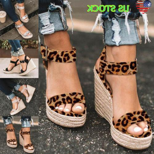 Womens Platform Sandals Studs Ankle Strap Buckle Wedges Espa