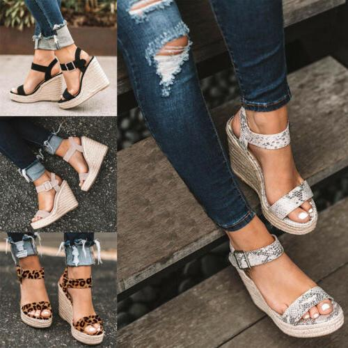 Womens Platform Studs Ankle Strap Buckle Wedges Espadrille