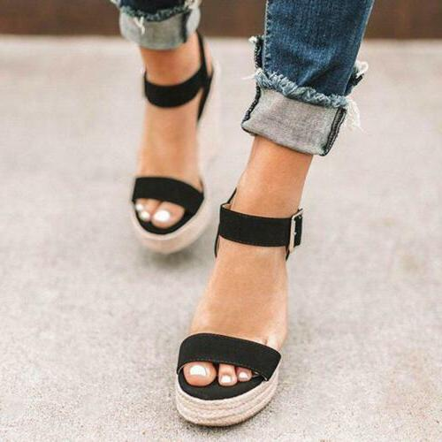 Womens Platform Ankle Buckle Wedges Espadrille Shoes