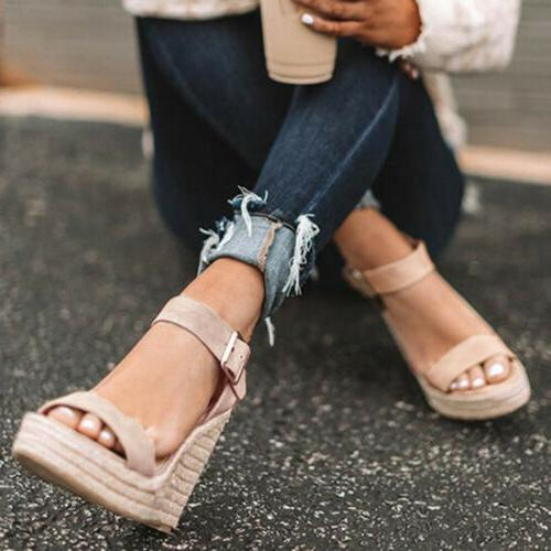Womens Sandals Ankle Buckle Wedges Espadrille Summer