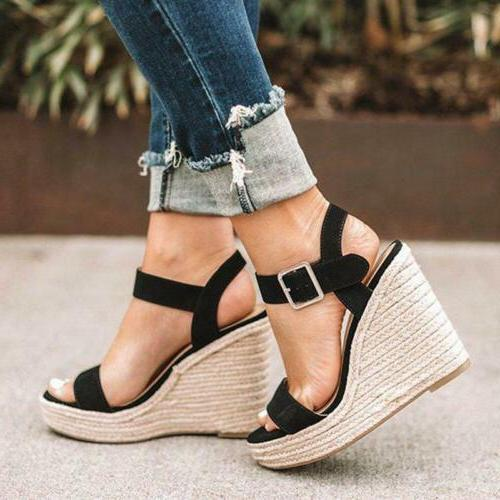 Womens Sandals Ankle Strap Buckle Wedges Comfy US