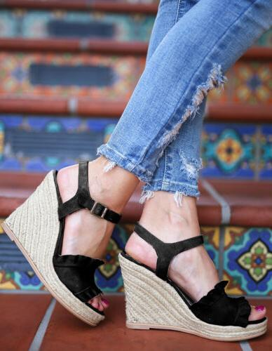 Womens Sandals Open Buckle Strap Size
