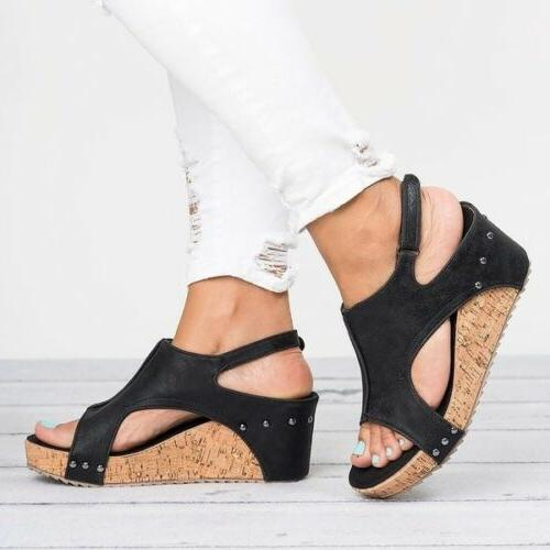 Womens Leather Ankle Peep Toe Platform Wedge Shoes 5-9