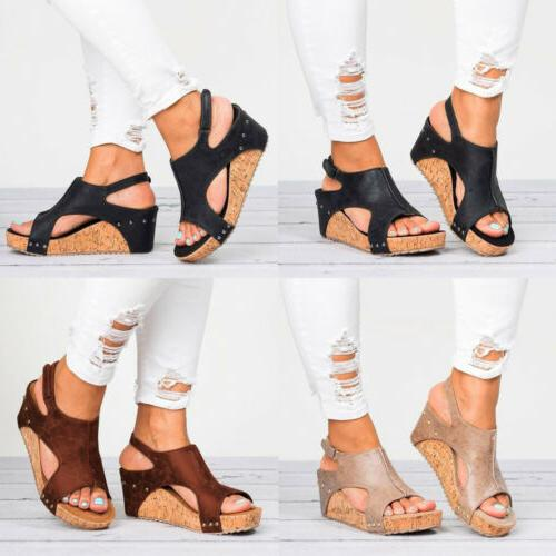 Womens Leather Ankle Strap Peep Toe Sandals Summer Platform