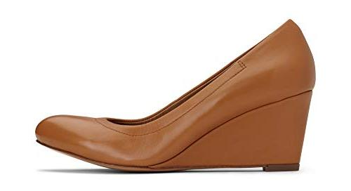 Vionic Women's Lux Camden Wedge Heels Ladies Dress Orthotic Leather