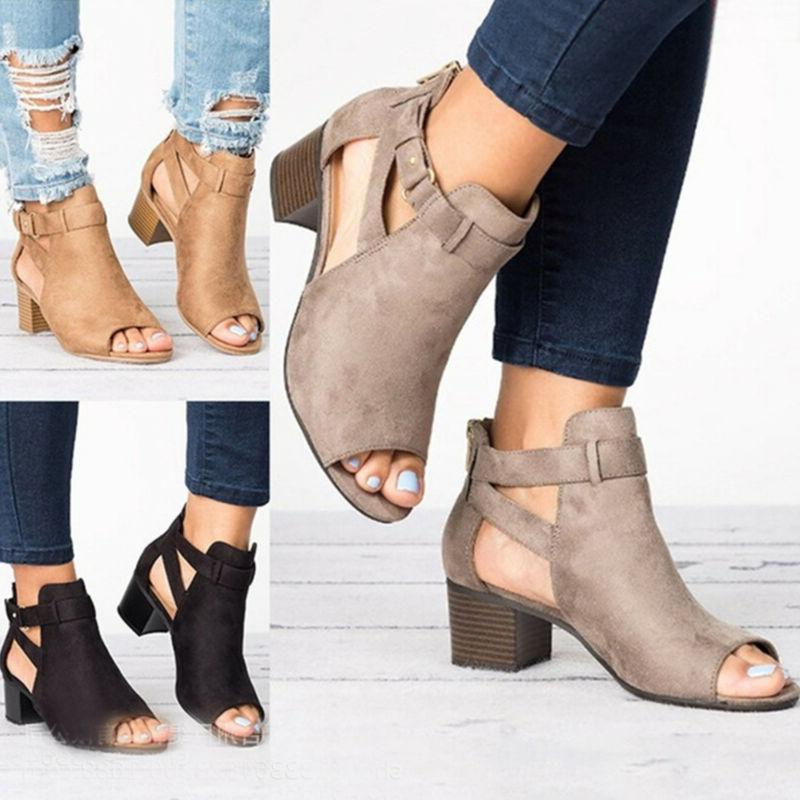Womens Mid Block Heels Wedge Sandals Casual Chunky Ankle Str