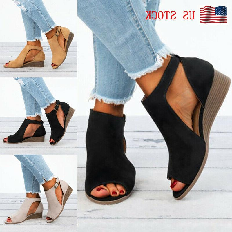 womens peep toe wedges sandals casual ankle