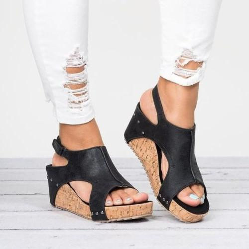 Womens Leather Peep Sandals Platform Wedge Size 5-9