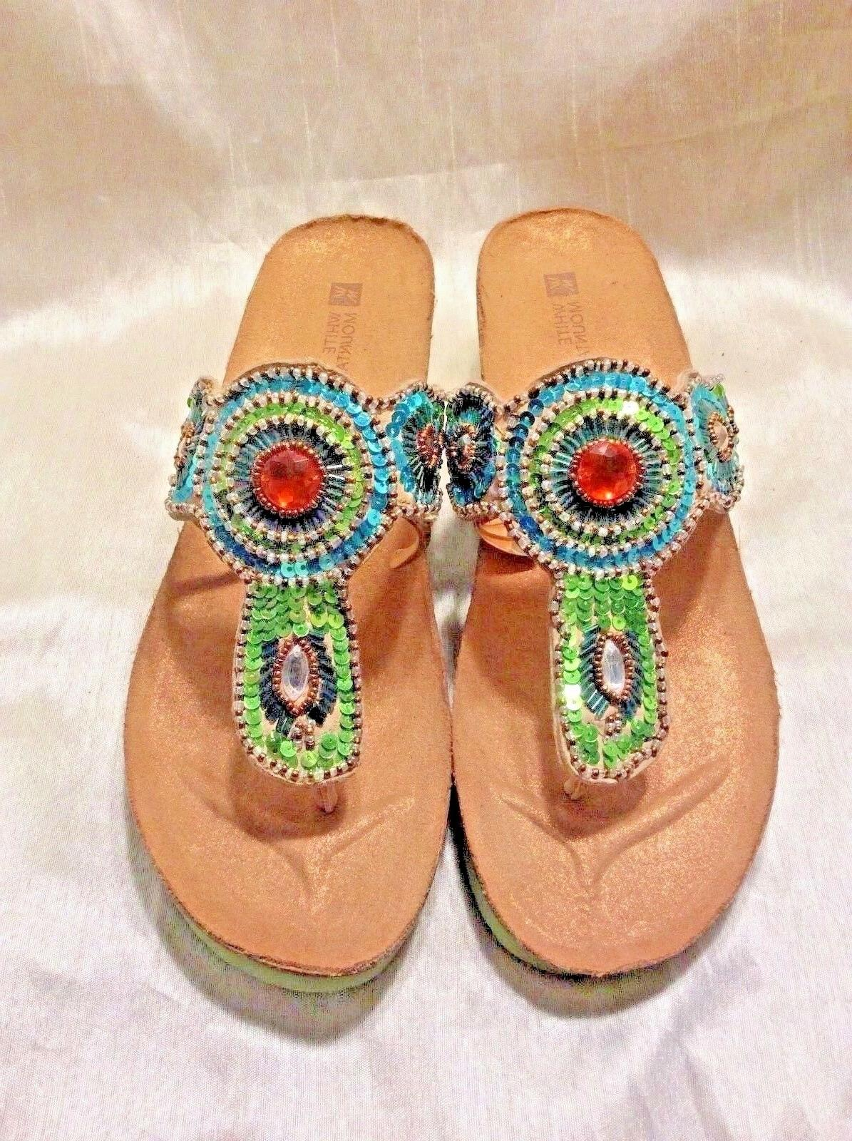 womens sandals beautiful turquoise and green w