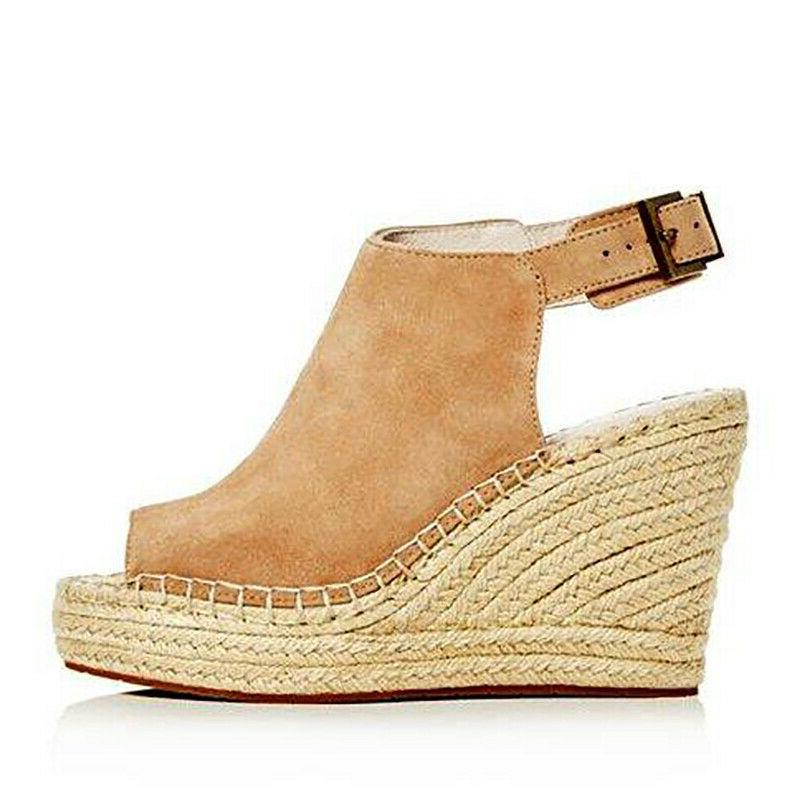 Womens Casual Wedges Heel Straw Toe Ladies US
