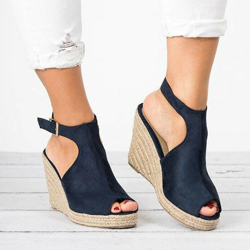 Womens Heel Straw Platform Toe Shoes US