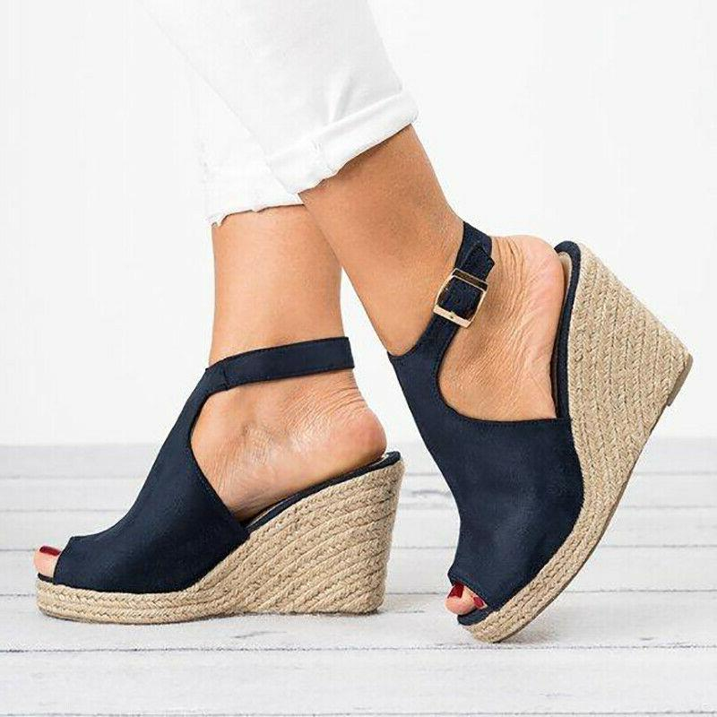 Womens Sandals Casual Heel Peep Toe US