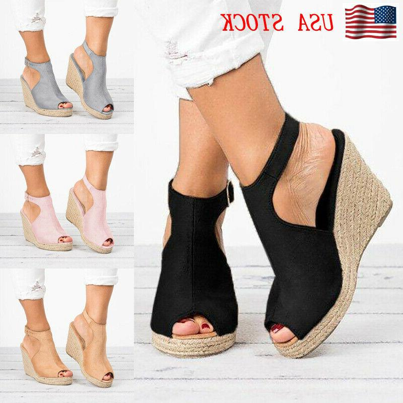 womens sandals casual wedges heel straw platform