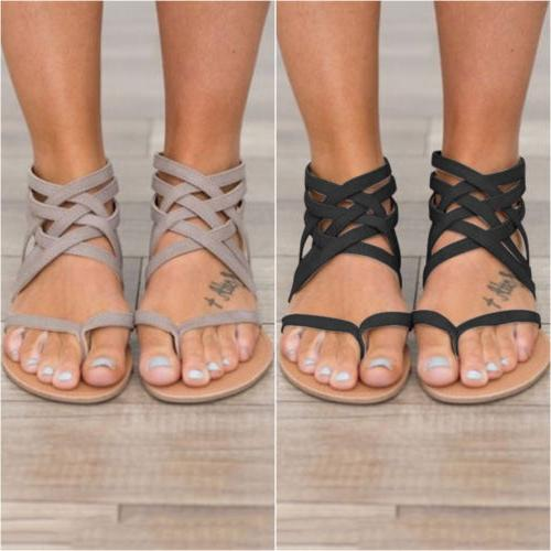 Womens Flat Wedge Strappy Toe Beach Flip Flops Shoes