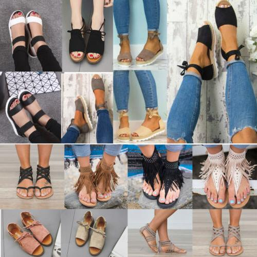 womens sandals flat wedge strappy espadrilles peep