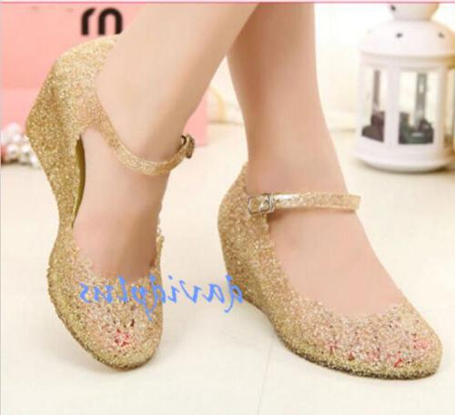 Womens Heels shoes Wedge Glass Jelly Shoes