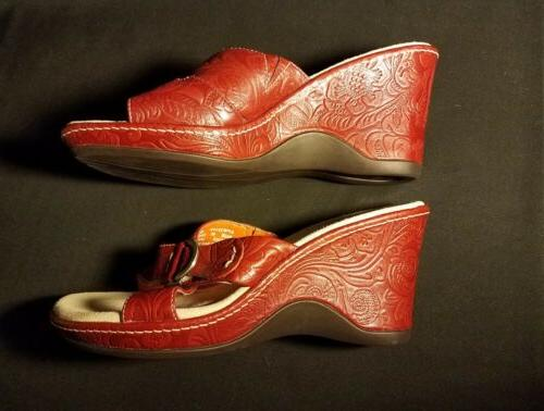 Rockport Womens Sandals 6M Wedge Red Leather 503002