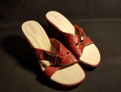 Rockport Womens Sandals Size 6M Wedge Open Toe Red Leather 5