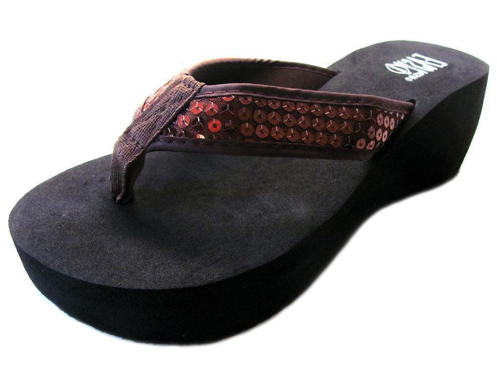 Womens Sequined Flops Platform Thongs Size - 11