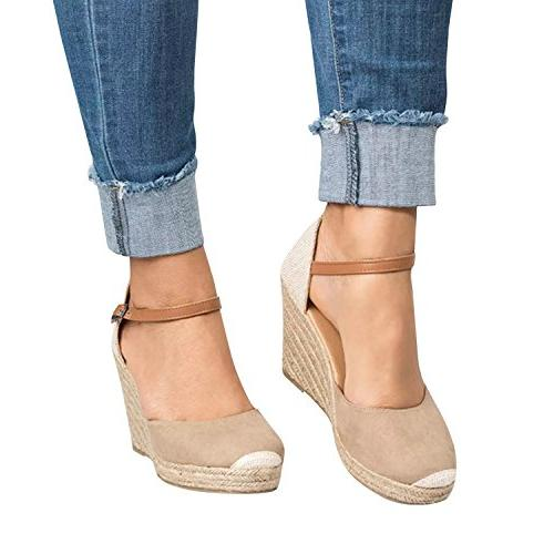 Pxmoda Womens Espadrille Wedge Fashion Buckle Suede Shoes
