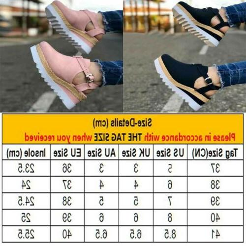 Womens Platform Espadrille Sandals Round Toe Ankle Strap Shoes Size