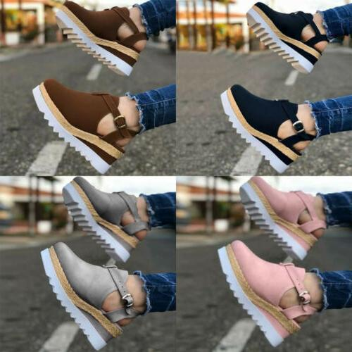 Womens Espadrille Sandals Round Toe Ankle Strap