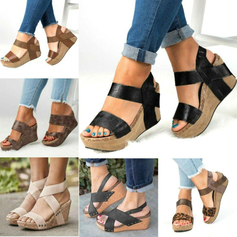 womens wedge high heel sandals ladies open
