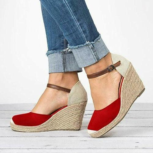 Womens Wedge Platform Peep Toe Sandals Strap Shoes