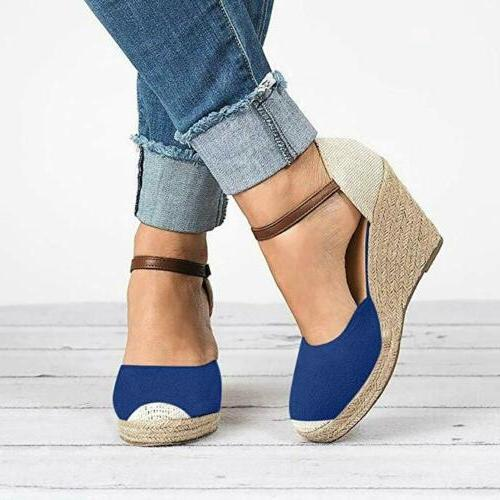 Womens Wedge Platform Toe Sandals Ankle Strap