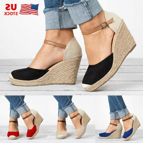 womens wedge platform peep toe sandals espadrilles