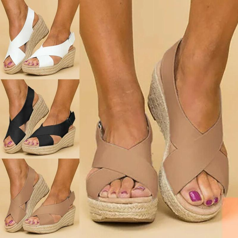 Womens Wedge Platform Sandals Ankle Strap Slingback Peep Toe