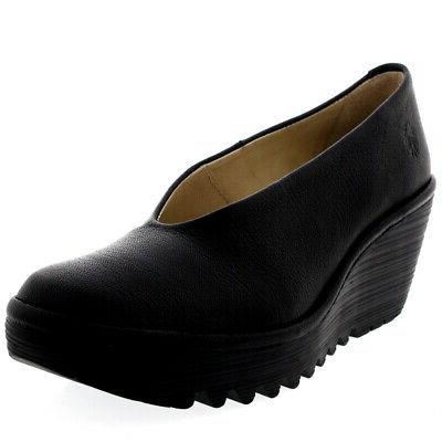 Womens Mousse Leather Slip On Wedge Shoes US