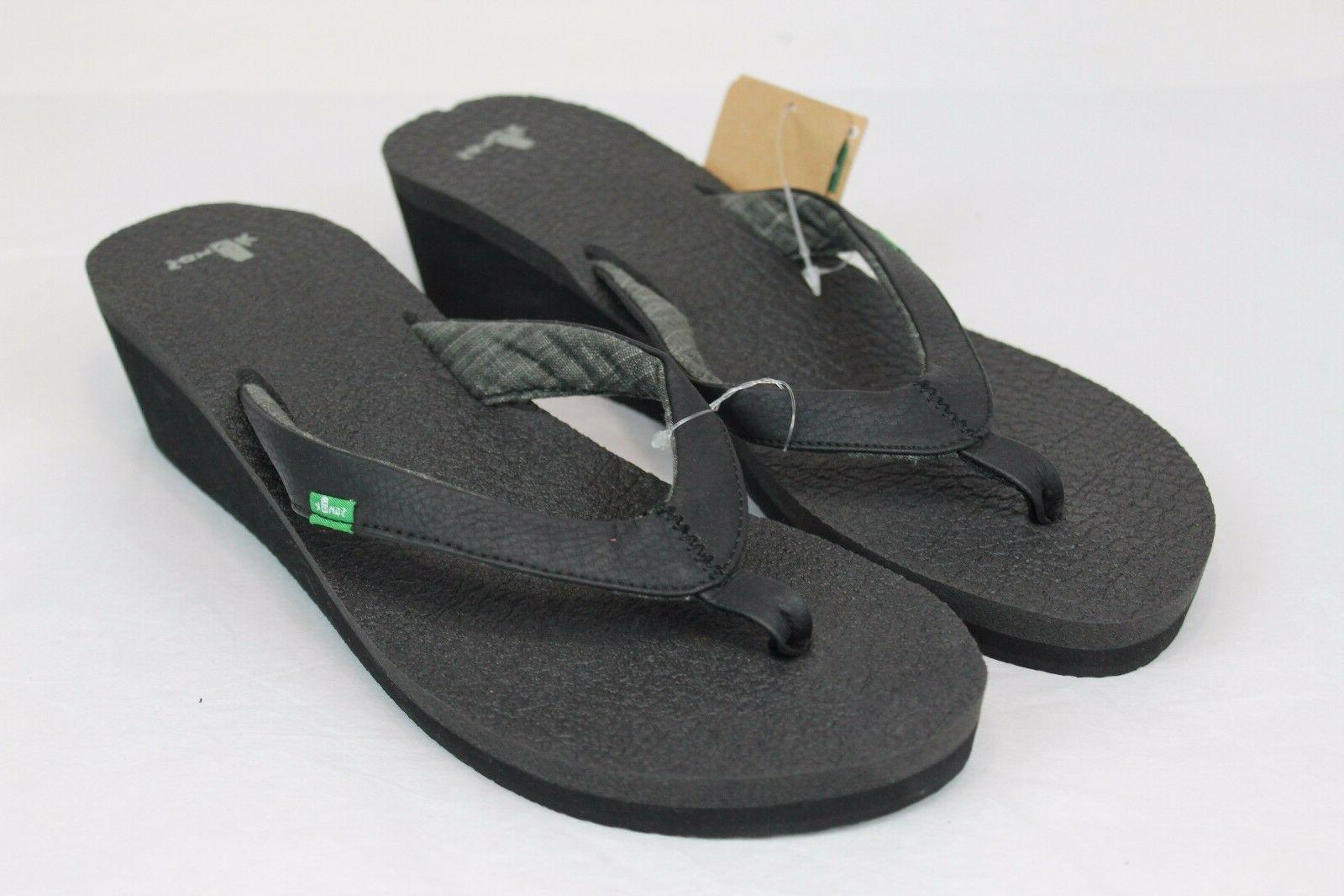 SANUK YOGA MAT WEDGE FLIP FLOP SANDALS BLACK WOMENS SIZE 9 U