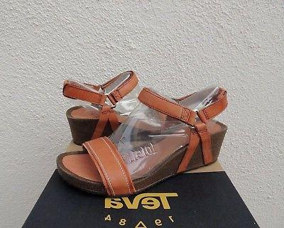 TEVA YSIDRO STITCH COGNAC LEATHER WEDGE SANDALS, WOMEN US 9/