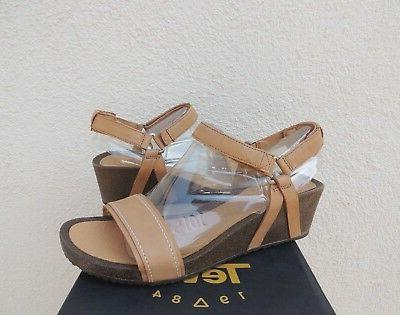 TEVA YSIDRO STITCH TAN LEATHER WEDGE SANDALS, WOMEN US 10.5/