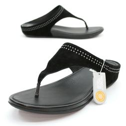 Fitflop Ladies 11  Banda Toepost with Studs Black Sandals Co