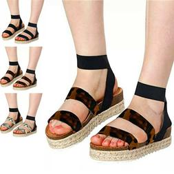 Ladies Lace Up Sandals Womens Tie Up Espadrilles Wedge Platf