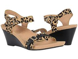 VIONIC Ladies 'NOBLE LAURIE' Tan Leopard Wedge Sandals  Sz.