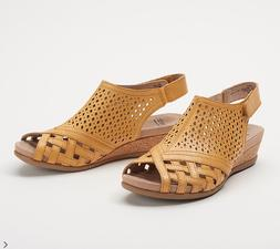 Earth Leather Perforated Wedge Sandals-Pisa Galli-Amber Yell