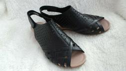 Earth Leather Perforated Wedge Sandals- Pisa Galli -Black-10