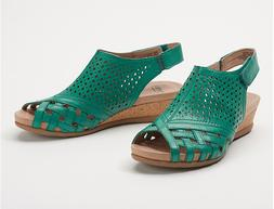 Earth Leather Perforated Wedge Sandals Pisa Galli Teal Green