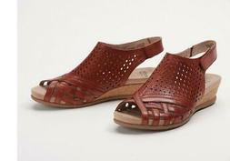 Earth Leather Perforated Wedge Sandals Pisa Galli Terracotta