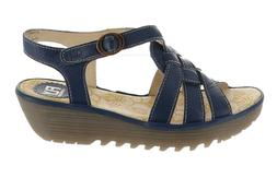 FLY London Leather Wedge Sandals Rini Blue EU39 NEW A305106